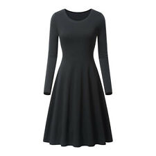 Women O-neck Long Sleeve High Waist Swing Skater A Line Casual Flare Skirt Dress