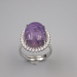 Solid 925 Sterling Silver 21mm Purple Charoite Woman's Ring Size 6-12