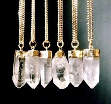 Clear Quartz Point Pendant Gold Plated Crystal Clear Quartz Pendant Reiki. One.