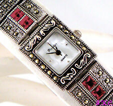 Vintage Silver Genuine Marcasite & Red Garnet Semi Precious Gems Bracelet Watch