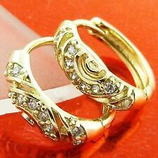 HUGGIE HOOP EARRINGS 18K YELLOW GF GOLD SOLID DIAMOND SIMULATED DESIGN FS3AN958