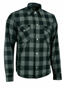 Men Motorcycle Plaid Flannel Lumberjack Shirt Reinforced w/ Protective Lining