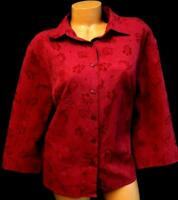 C.j. banks burgundy floral textured 3/4 sleeve plus size button down top 1X