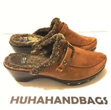 Stuart Weitzman Brown Suede Clog Mule With Studs And Buckle Size 10