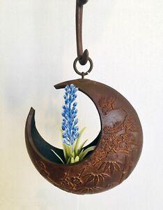 """Japanese Iron hanging frower vase """"Tsurushi-kaki Nanbu Tekki"""" Monkey and Moon"""
