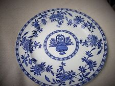 "VINTAGE 10"" DINNER PLATE WOOD & SONS DELFT STYLE RICH BLUES URN FLORAL"