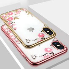 For iPhone XS Max XR X 6s 8 7 Plus SE Diamond Flower Bling Soft Clear Case Cover