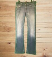 7 For All Mankind Women's Medium Wash Bootcut Jeans! Distressed. Meas. as 32 EUC