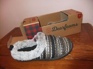 Dearfoams Womens Knit Clog Memory Foam Slipper (Large/9-10 B(M) US, Black Multi)