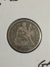 1877-P  Silver Seated Liberty Dime about Good Details Condition