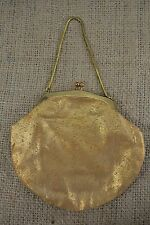 VINTAGE 1950s gold fabric evening bag/handbag with chain handle
