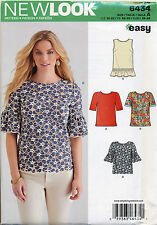 NEW LOOK SEWING PATTERN 6434 MISSES SZ 10-22 EASY TOPS W/ SLEEVE FLOUNCE