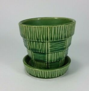 "Vintage McCoy Pottery Small Green Basket Weave Planter with Saucer 3"" VF+"