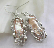 Fashion Pink BAROQUE Biwa Pearl 925 Silver Hook Dangle Earrings
