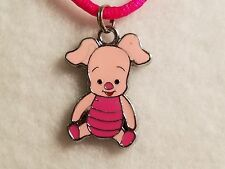 "Pink Winnie The Pooh's ""Piglet"" Pendant Hot Pink Satin Necklace w/Lobster Clasp"