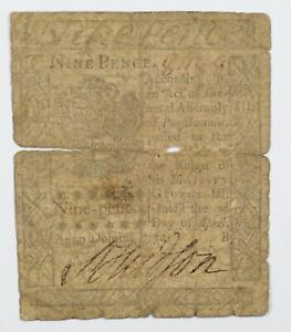 1772 Pennsylvania Nine Pence Colonial Early US Note