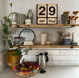 Rustic Scaffold Board Shelves | Wooden Kitchen Bedroom Living Room Shelf