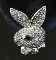 14K white gold elegant .86CT diamond bunny earrings