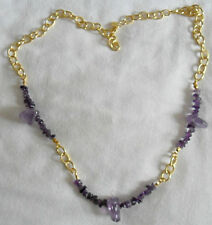 "Amethyst, gold plated Stainless steel chain, 29"" necklace"