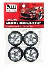 Auto World Modern 5 spoke Wheel pack set for 1:18 scale diecast vehicles