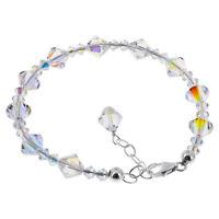 925 Sterling Silver Swarovski Elements Clear AB Crystal Bracelet 7 to 8 inch