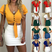 Women Summer T-Shirt Knotted Tie Front Cami Crop Tops Cropped T Shirt Blouse Tee