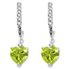LOVELY 1.61 CTW  PERIDOT & DIAMOND 10KT SOLID WHITE GOLD DANGLE HEART EARRINGS