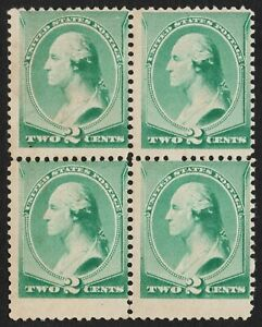 US Sc# 213 *UNUSED NG H* { 2c WASHINGTON BLOCK OF 4 } NICE FROM 1887 SERIES