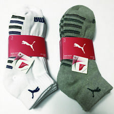 PUMA Men's Sport Half Pile Cushion Low Cut Socks 3Pairs White Gray KOREA