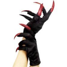 Smi - Handschuhe mit Glitzer Krallen zum Hexe Teufelin Kostüm an Halloween