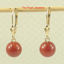 14k Yellow Solid Gold Leverback 8-8.5mm Carnelian Bead Dangle Earrings TPJ