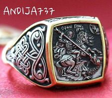 Men Authentic St George Patron Def Dragon Prayer Ring Silver 925 24K Gold Plate