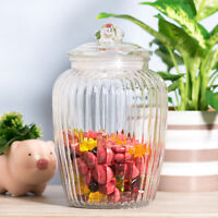 2280ml Retro Ribbed Glass Sweets Sweetie Storage Jar Biscuit Cookie Barrel Tin