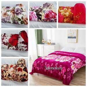 Soft Fleece Blanket Large Sofa Throw Soft Warm Faux Fur Floral Mink  Double,King