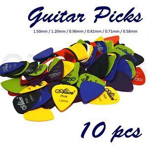 10 x ALICE Guitar Picks Bulk Coloured Celluloid Plectrums Standard Mixed Colour
