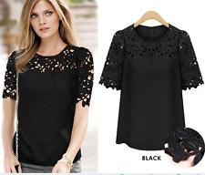 Women lace Vest Top short Sleeve Chiffon Blouse Casual Tops T-Shirt Size S-5XL