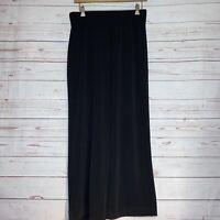 Susan Graver Women's Cropped Pants Sz S Liquid Knit Pull-On Wide Leg Black