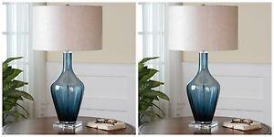 "PAIR MODERN 29"" GLASS HAGANO TABLE BUFFET LAMP LINEN SHADE LIGHT CRYSTAL BASE"