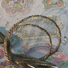 "Antique Vintage Gold Silver Metallic Trim Metal Rope Cord Tiny Narrow 1/8"" Doll"