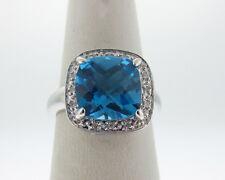 Blue Topaz 10x10mm Diamonds Solid 14k White Gold Ring FREE Sizing
