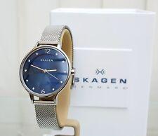 Designer SKAGEN Ladies SLIM Watch Blue dial MESH strap RRP£169 Boxed (SK14