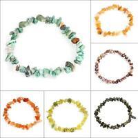 Gemstone Crystal Chip Beaded Stretch Gift Charm Reiki Healing Bracelet Group-44A