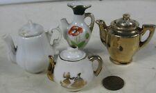 4 Miniature Antique Tea Pots Nice Early Ironstone