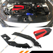 FOR 2016-18 HONDA CIVIC JDM RED BLK TYPE-R STYLE ENGINE COVER + SIDE PANEL COVER