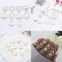 Retro Women Boho Midi Finger Rings Gold Stacking Plain Above Knuckle Ring Set
