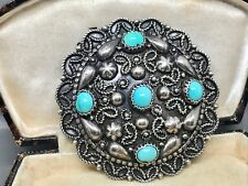 Lovely Vintage Continental Silver & Turquoise Brooch