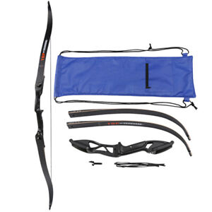 "Archery 56"" Takedown Recurve Bow Hunting Right Hand Aluminum Alloy Riser Longbow"