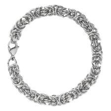 Lover Couple Charm Cuff Wrist Stainless Steel Lobster Byzantine Bracelet