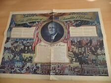 OLD VINTAGE WW2 WAR PROPAGANDA POSTER USA FRANKLIN ROOSEVELT