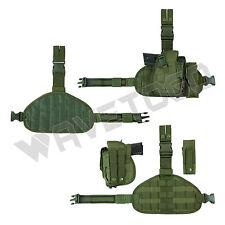 VISM NcSTAR Tactical 1911 Army Pistol Gun Drop Leg MOLLE Holster Mag Pouch Green